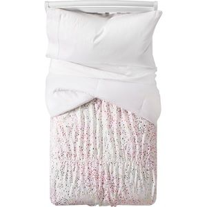 Pillow fort iridescent twin comforter and sham